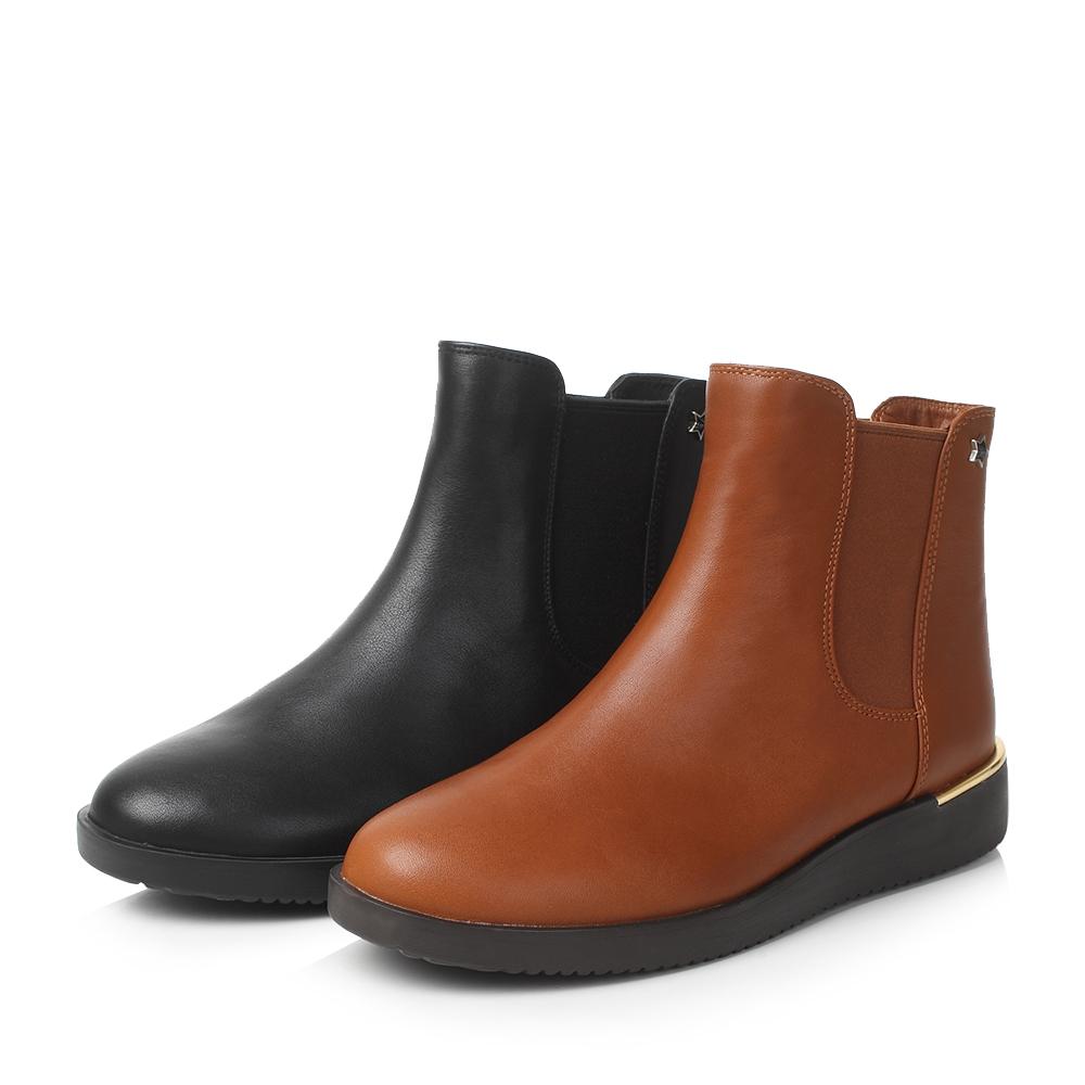 天美意牛皮星星铆钉平跟切尔西靴女短靴CBJ40DD7