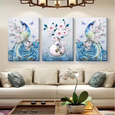 客厅装饰画孔雀凤凰三联画现代简约沙发背景墙欧式挂画简欧无框画双十二