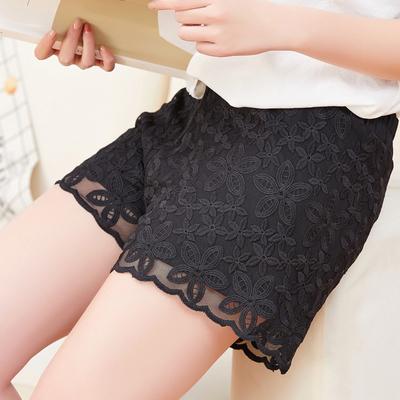夏季防走光蕾丝宽松短裙裤外穿女bf风少女性感热裤高腰显瘦短裤潮