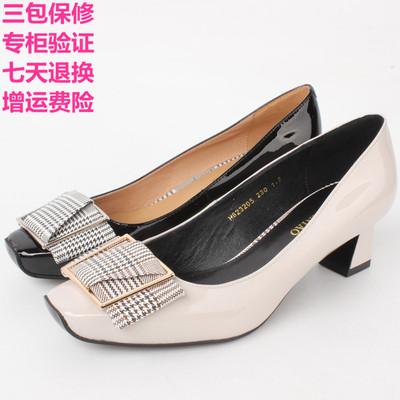 专柜正品富贵鸟女鞋粗中跟2018秋季新款真皮方头女单鞋H823205-1