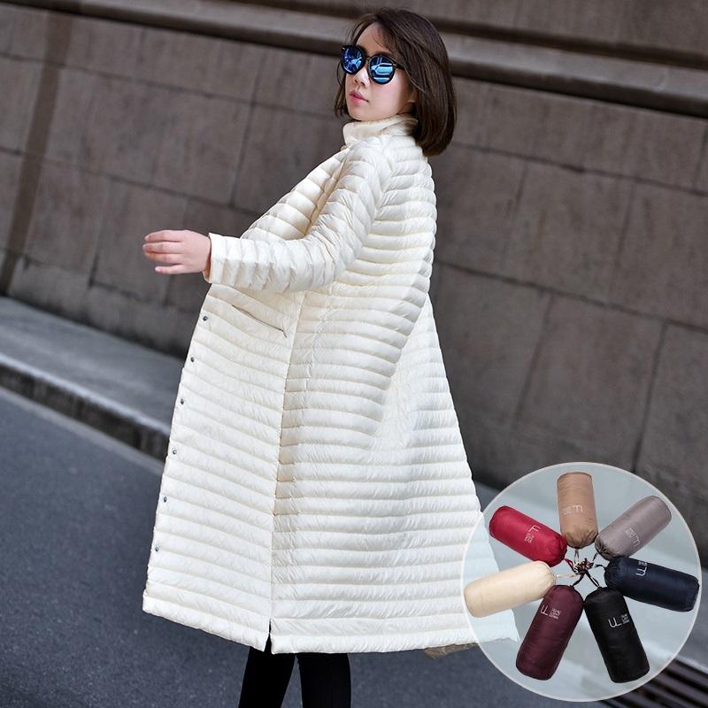 2018秋冬新款韩版轻薄过膝长款羽绒服女士修身显瘦超轻便薄款外套