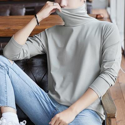 莫代尔长袖t恤男士韩版秋季打底衫高领纯色秋衣服男装秋装潮体恤