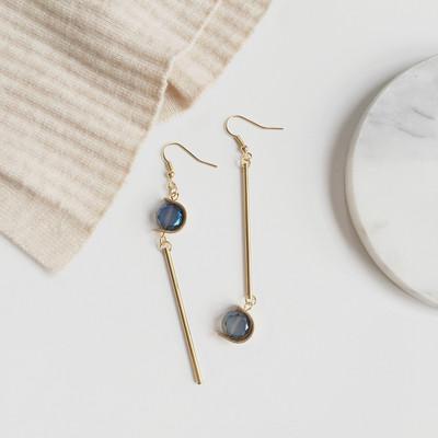 韩国手作简约复古蓝宝石不对称耳环气质耳坠无耳洞耳夹