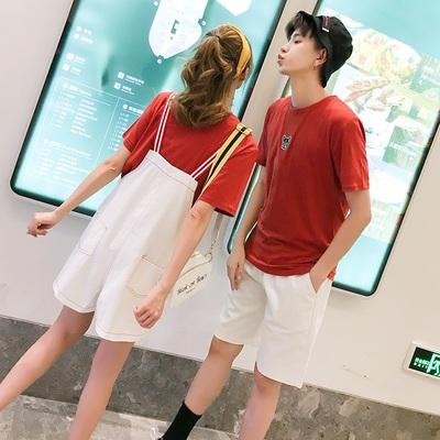 情侣装夏装套装2018新款情侣款同色系气质短袖不一样的连衣裙qlz