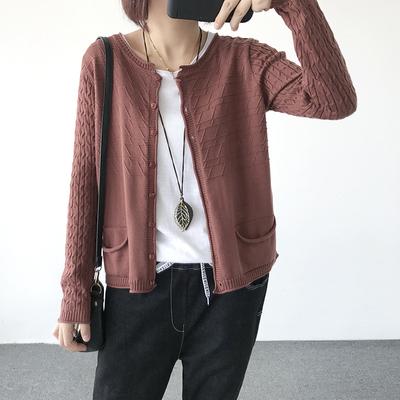 2017秋季新款韩版女装宽松显瘦文艺纯色长袖针织开衫线衫外套上衣