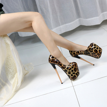 Sexy passion super high with single shoes fine with leopard tattoo hate sky high nightclub bar walk show steel pipe dance shoes 20cm backstring