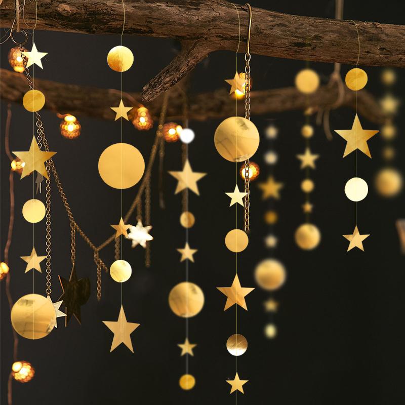端午节装饰品商场活动氛围星星圆形拉花珠宝店橱窗节庆场景布置