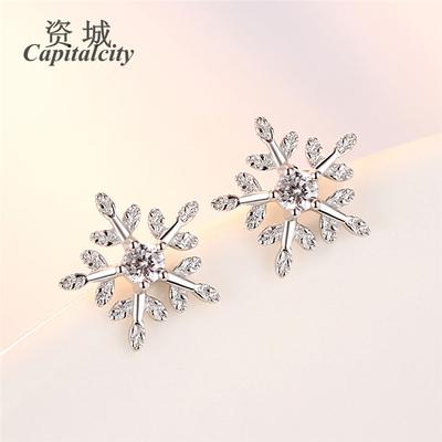 S925纯银饰品花朵素银镶钻雪花耳钉时尚韩版清新耳环水晶耳饰
