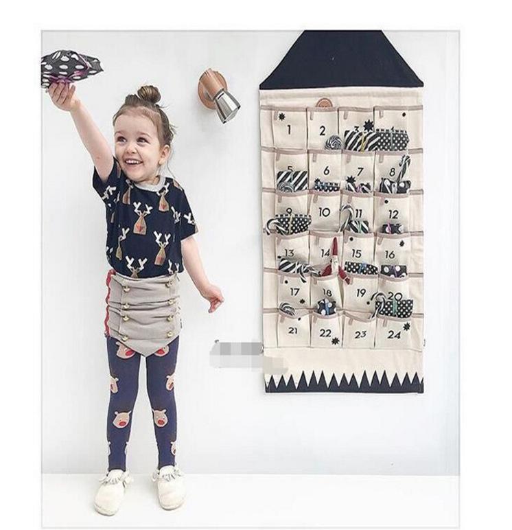 ins北欧印花数字收纳挂袋儿童房门后墙壁布艺24兜挂饰拍照道具