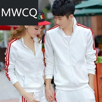 MWCQ韩版条纹开衫运动套装 男式女式加大码运动服 春秋透气情侣装