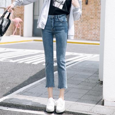 2018夏季新款韩版高腰宽松显瘦百搭高弹波浪边小直筒牛仔裤女八分