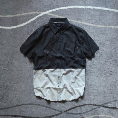 瑕疵品美式潮牌 高街 嘻哈 重洗水 宽松 做旧 短袖 牛仔衬衫 男