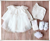 Spring, summer and autumn sweet princess lace dress baby gift set gift female baby full moon dress birthday gift