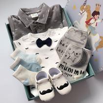 韩版新生婴儿满月百天周岁绅士马甲长袖男宝宝新生儿纯棉衣服礼盒