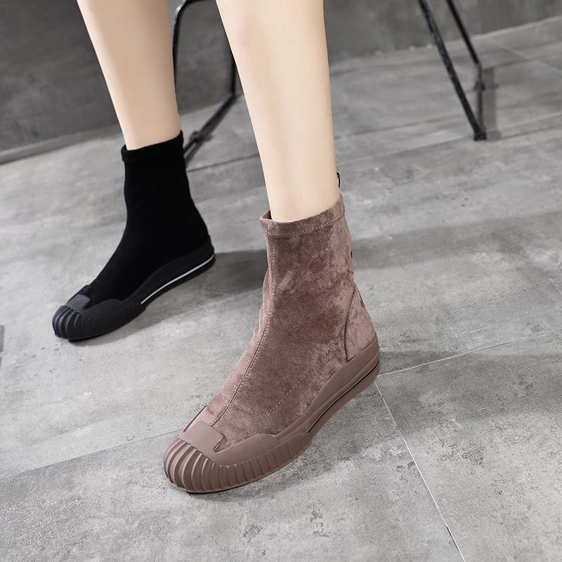 贝壳头绒面弹力布马丁靴机车靴短筒靴平底鞋百搭网红袜子靴女鞋潮
