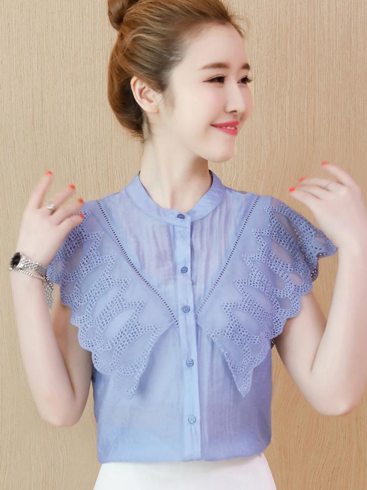 無袖上衣女2019夏季新款韓版寬松洋氣雪紡襯衫超仙仙女蕾絲上衣潮