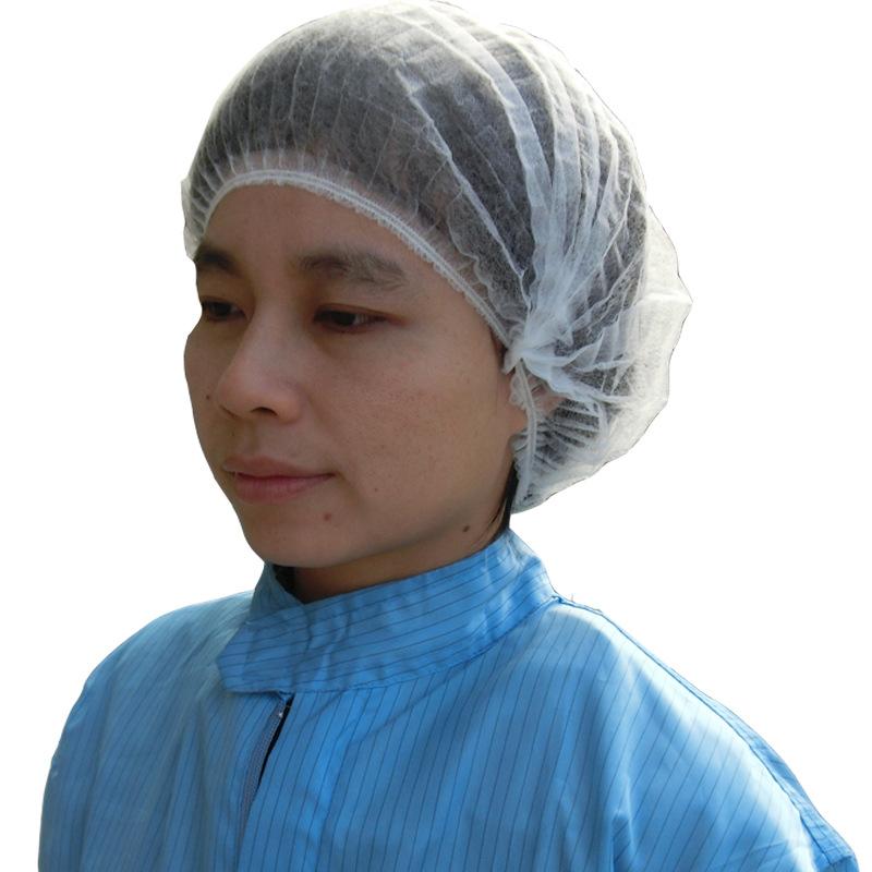新款一次性帽子防尘头套厨师工作圆帽双筋条形发帽无纺布无尘厨房