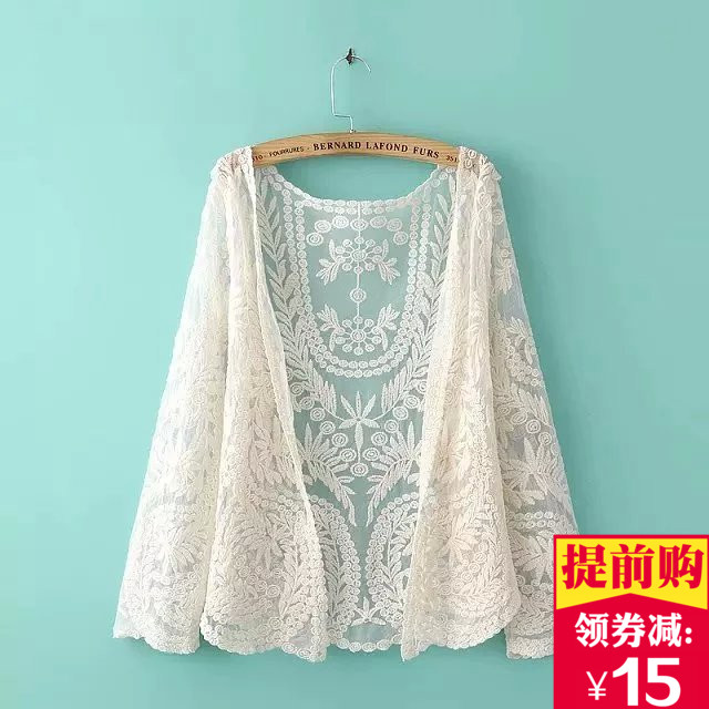米白色蕾丝衫