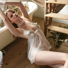 Honey Peach Mountain Camellia Sexy Nightwear Female Summer Heavy Industry Lace Perspective Screen Yarn Seduction Sleeping Skirt Home Underwear