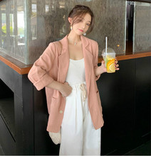 Spring and Autumn Chic net red and thin cotton and hemp small suit jacket for women 2019 Korean version of loose leisure Baitie suit