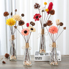 Natural dried flowers with flower vase bouquet home decoration small fresh northern Europe put a flower arrangement living room bedroom office decoration