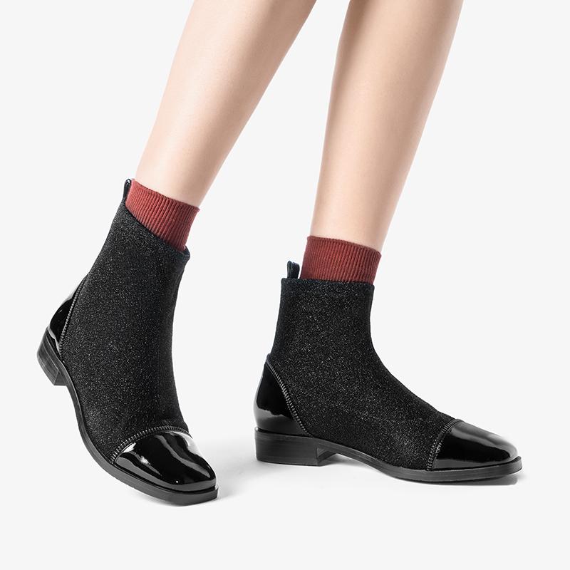 莱尔斯丹 弹力针织靴瘦瘦袜子靴方头女靴粗跟平底短靴24002