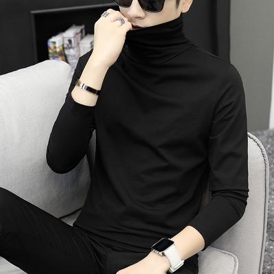 长袖t恤男韩版秋装上衣半高领体恤秋衣服立领打底衫秋季纯色小衫