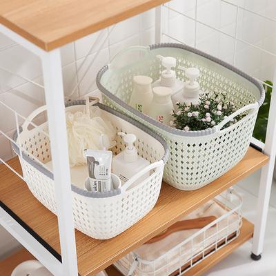 厨房桌面收纳篮塑料镂空整理筐仿藤编洗澡篮衣物收纳筐零食杂物篮