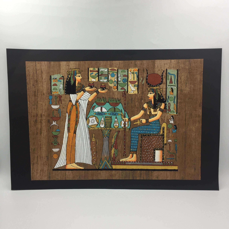 埃及纸莎画 伊西斯女神 50*34 无框 家居装饰画 纯手绘手工艺品