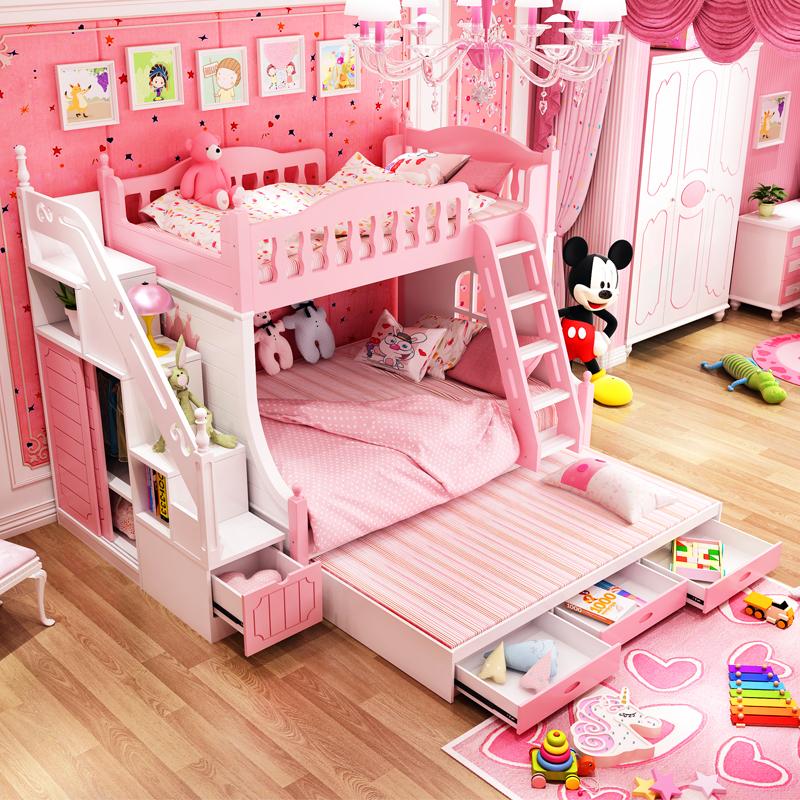 儿童双层床上下床粉色
