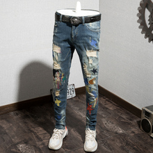 Spring and Summer 2019 Embroidery Personality Dazzling and Body-building Small-footed Jeans Men's Hole Patches Light-colored Young Pants Tide