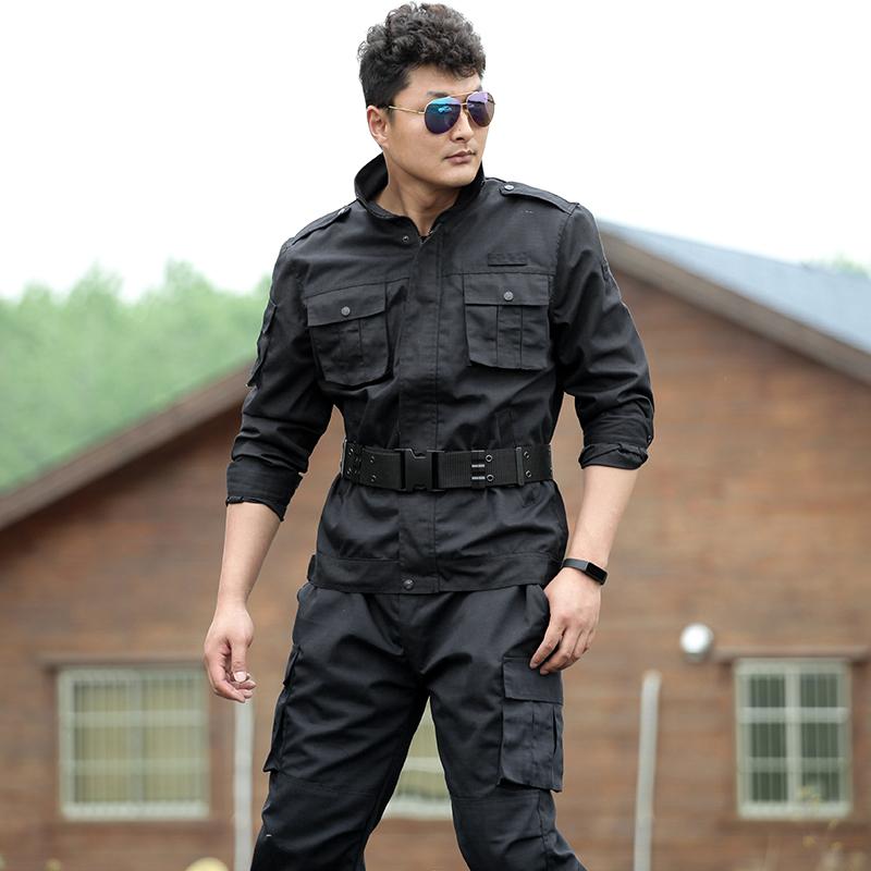 春秋军迷服装黑色作训服套装男特种兵野战作战服耐磨工装物业安保