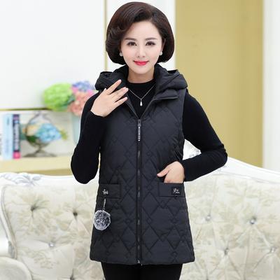 中老年秋冬季新款羽绒棉马甲中长款坎肩妈妈装保暖背心棉衣外套