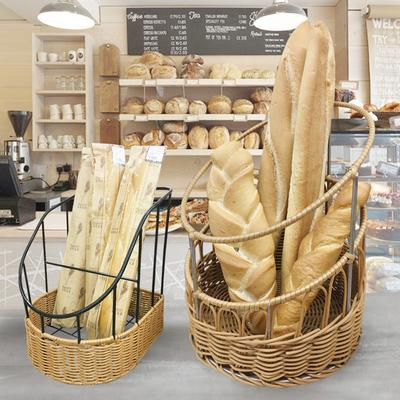 藤编面包篮 欧式篓孔法棒法棍筐 创意收纳篮法式藤篮梯形圆形桶