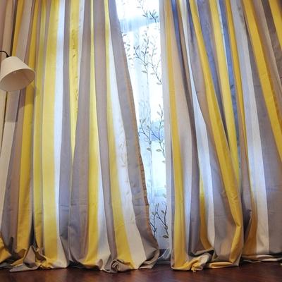 黄色咖色竖条纹亚麻遮光窗帘布料定制客厅书房卧室。午后双十二