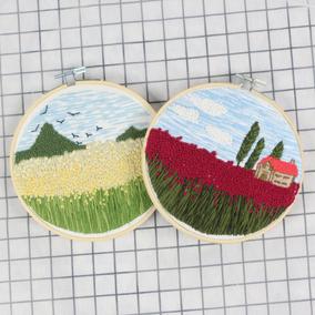 刺绣DIY材料包欧式植物风景 新手学生手工课教具立体绣线绣新款