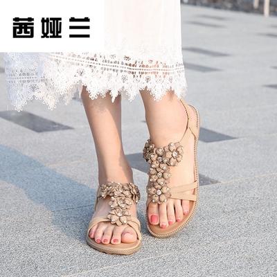 茜娅兰2018夏季新款平底鞋水钻花朵韩版凉鞋女波西米亚软底女凉鞋