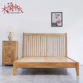 现代中式老榆木双人床实木卧室1.5大床 仿古原木色主卧单人床