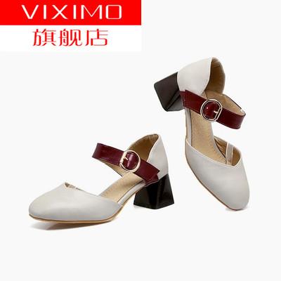 新品小码凉鞋31 32 33中跟包头凉鞋女大码41-43粗跟扣带韩版鞋4