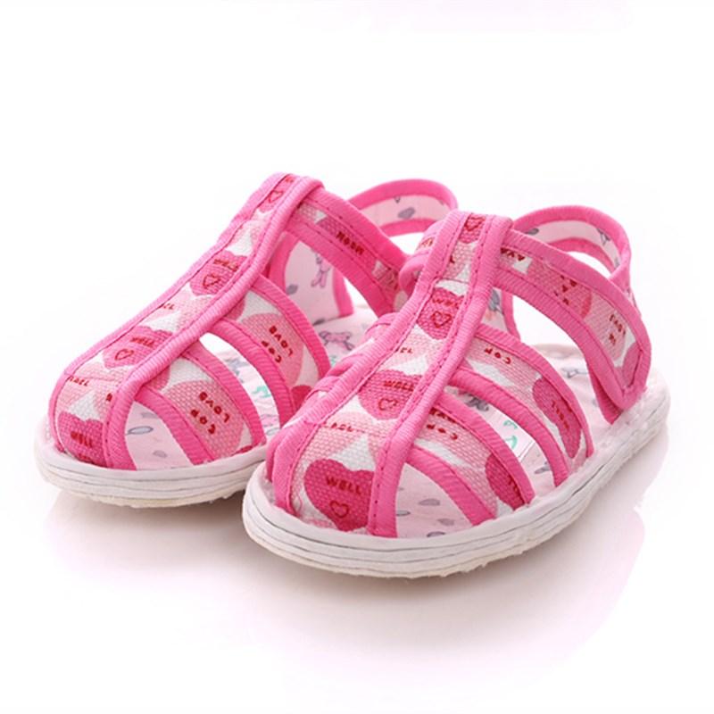 2纯手工儿童千层底布鞋凉鞋小童女1-3-5岁夏季宝宝布底防滑学步