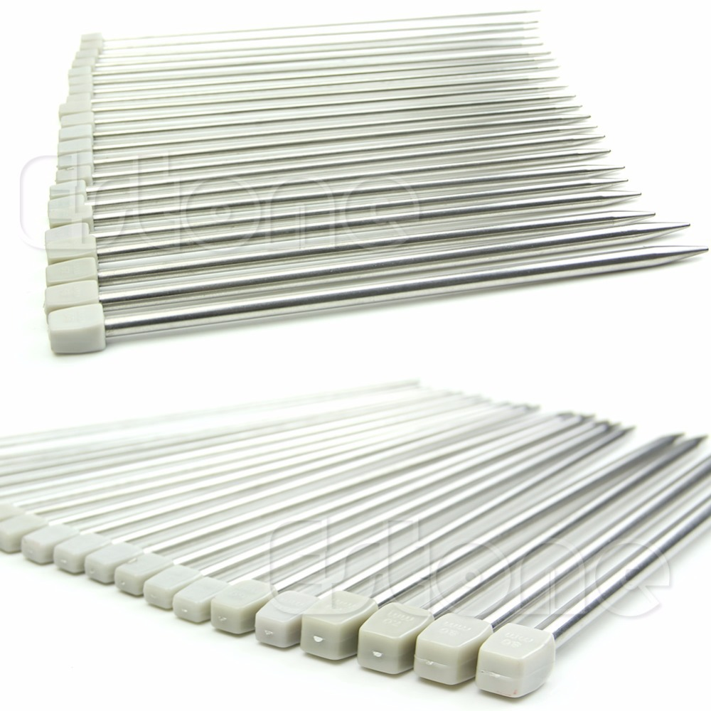 22pcs Stainless Single Pointed Knitting Needles 11sizes 10