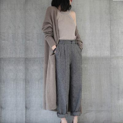 反季秋冬新款羊绒大衣女中长款毛衣女加厚宽松外套针织开衫外搭潮