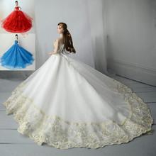 新品30CM换装洋娃娃裙子衣服拖尾婚纱礼服 大裙 女孩玩具三件包邮