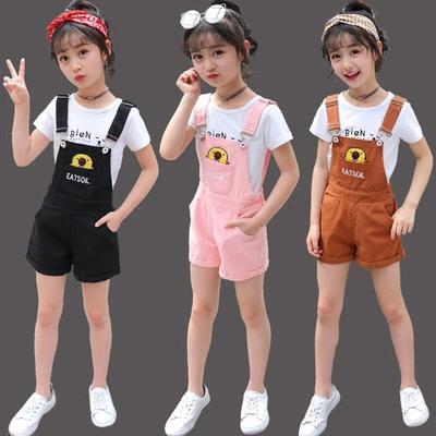 女童夏装2018新款潮童装大童洋气夏背带裤运动两件套衣服时髦套装