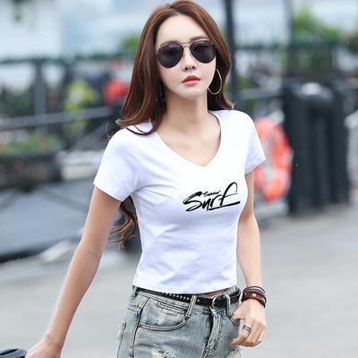 白色t恤女短袖V领漏肚脐高腰短款夏装紧身修身露脐上衣服2018新款