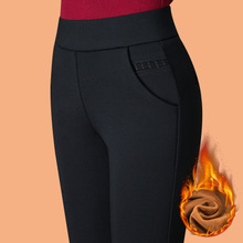 Winter 2018 New Bottom Pants Plush Thickening Middle-aged Women Wear High-waisted Mother's Black Warm Cotton Pants