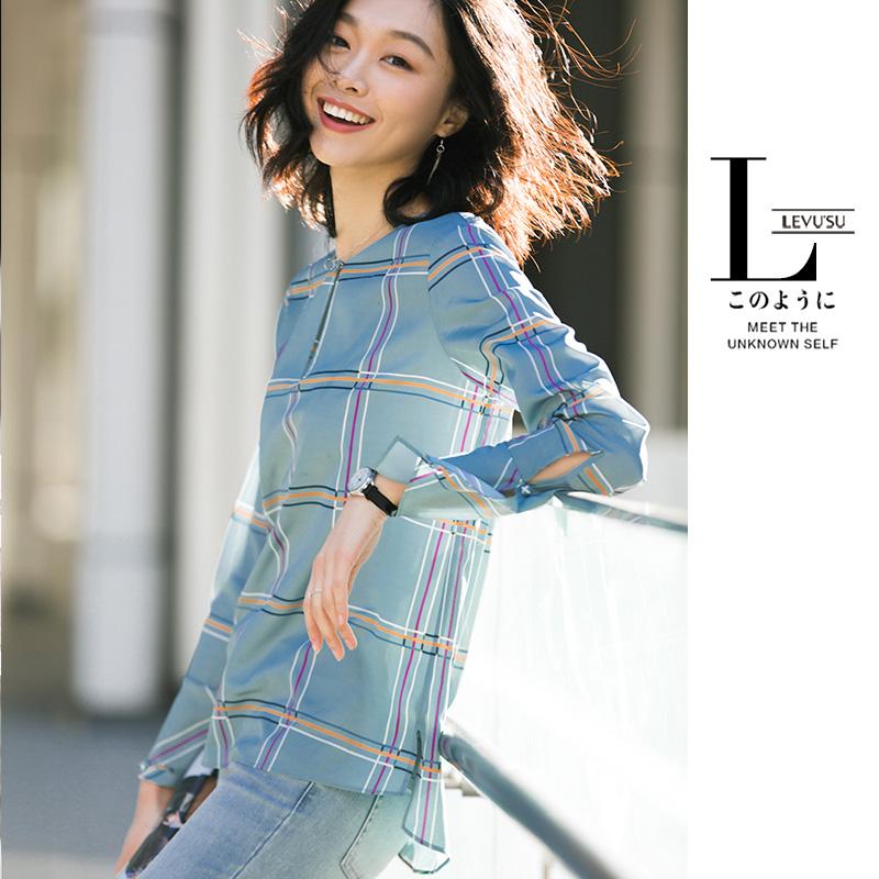 长袖格子衬衫雪纺衫薄上衣韩版衬衣小衫打底衫2018春装新款女装潮