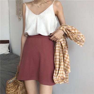 夏季新款韩国复古chic气质修身显瘦纯色百搭高腰半身裙弹力包臀裙