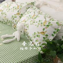 春夏新款绿色格子老粗布帆布全棉床单粗布凉席三件套枕套单件包邮