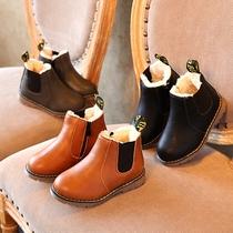 秋冬季新款儿童防水靴男童短靴英伦皮靴女童单靴马丁靴潮